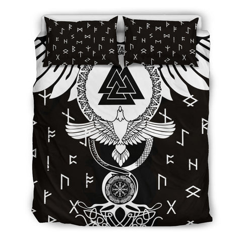 Image of 1stIceland Viking Bedding Set, Flying Raven Tattoo And Valknut - 1st Iceland
