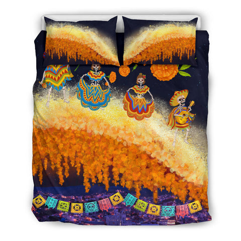 1stIceland Mexican Día de Muertos Bedding Set Cempasúchil Flowers Bridge K8