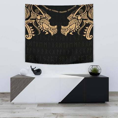 1stIceland Viking Tapestry, Fenrir Tattoo The Ragnarok - Gold K4 - 1st Iceland