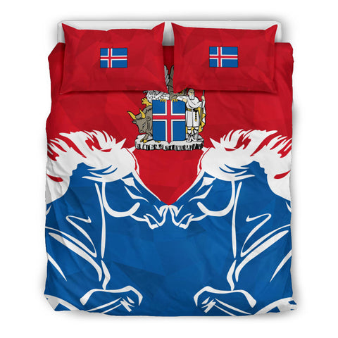 Image of 1stIceland Pullover Bedding Set, Horse Coat Of Arms Couple Style K4 - 1st Iceland