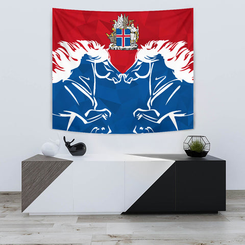 Image of 1stIceland Pullover Tapestry, Horse Coat Of Arms Couple Style K4 - 1st Iceland