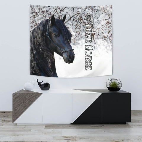 Image of 1stIceland Beautiful Friesian Horse Tapestry TH12 - 1st Iceland