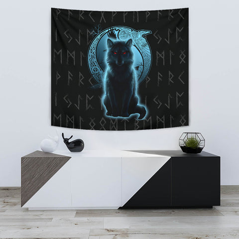 Image of 1stIceland Fenrir Viking Wolf And Moon Tapestry TH12 - 1st Iceland