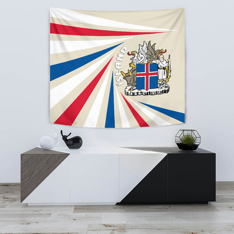 Image of 1stIceland Iceland Tapestry Coat Of Arms Creative Vibes - Beige K8 - 1st Iceland