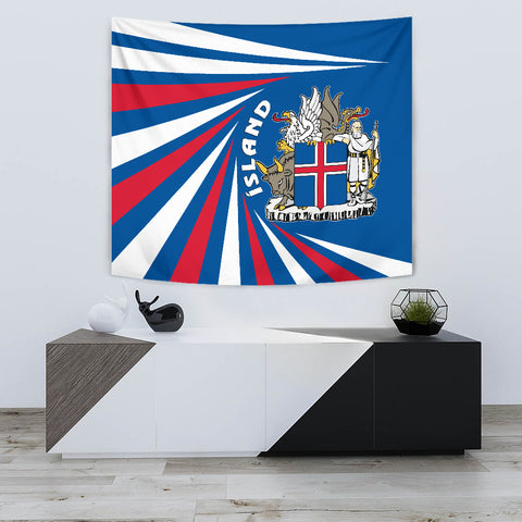 1stIceland Iceland Tapestry Coat Of Arms Creative Vibes - Blue K8