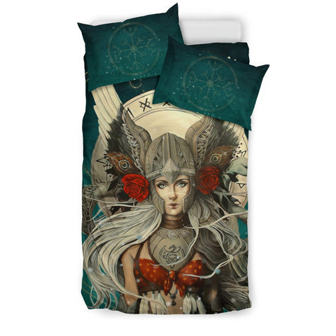 1stIceland Viking Bedding Set, Valkyrie Helm Of Awe Rune Circle K5 - 1st Iceland