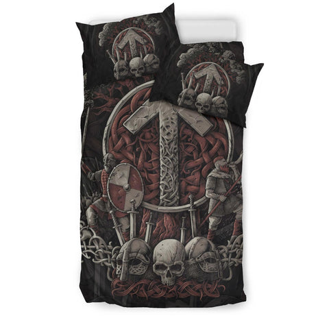 1stIceland Viking Bedding Set, Tyr Nordic Mythology Tree Of Life K7 (Maroon) - 1st Iceland