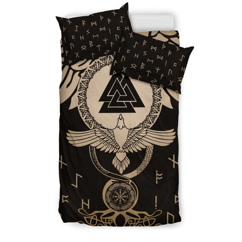 Image of 1stIceland Viking Bedding Set, Flying Raven Tattoo And Valknut Gold - 1st Iceland