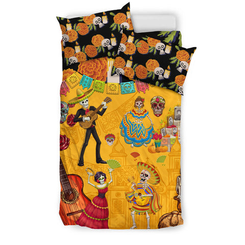 Image of 1stIceland Mexican Día de Muertos Bedding Set Cempasúchil Flowers K8