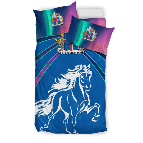 Image of 1stIceland Pullover Bedding Set, Icelandic Horse Coat Of Arms Northern Lights K4 - 1st Iceland