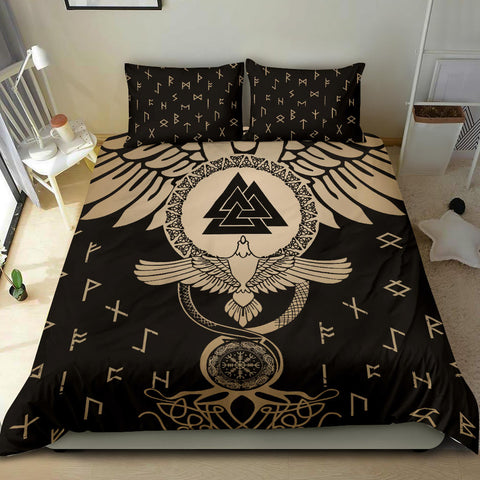 1stIceland Viking Bedding Set, Flying Raven Tattoo And Valknut Gold - 1st Iceland