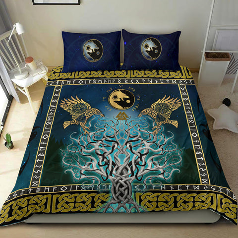Image of 1stIceland Viking Bedding Set, Tree Of Life Fenrir Skoll And Hati Raven Rune TH00 - 1st Iceland