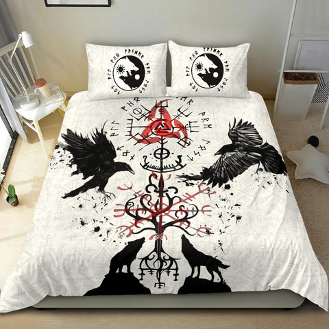 Image of 1stIceland Viking Bedding Set, Vegvisir Hugin and Munin with Fenrir Yggdrasil K4 - 1st Iceland