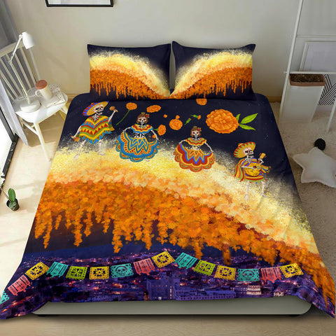 Image of 1stIceland Mexican Día de Muertos Bedding Set Cempasúchil Flowers Bridge K8