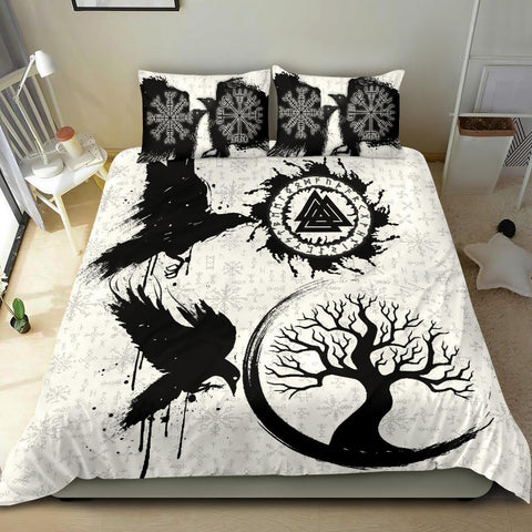 Image of 1stIceland Viking Valknut Huginn and Muninn Bedding Set Yggdrasil, Vegvisir Helm of Awe - White K8 - 1st Iceland