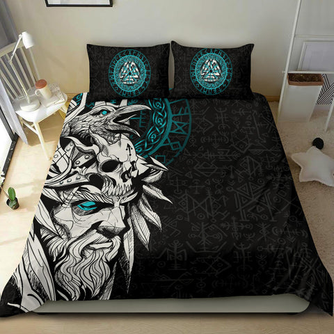 1stIceland Viking Odin And Raven Turquoise Bedding Set TH12 - 1st Iceland