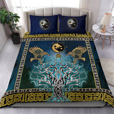 1stIceland Viking Bedding Set, Tree Of Life Fenrir Skoll And Hati Raven Rune TH00 - 1st Iceland