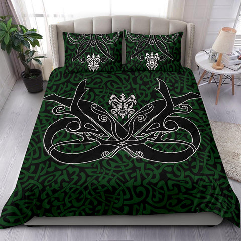 1stIceland Celtic Bedding Set, Celtics Dragon Tattoo Th00 - Green - 1st Iceland