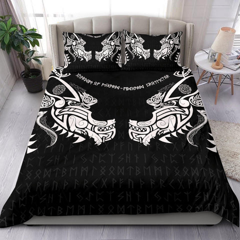 Image of 1stIceland Viking Bedding Set, Fenrir Tattoo The Ragnarok K4 - 1st Iceland