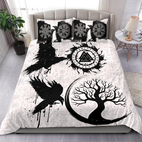 1stIceland Viking Valknut Huginn and Muninn Bedding Set Yggdrasil, Vegvisir Helm of Awe - White K8 - 1st Iceland