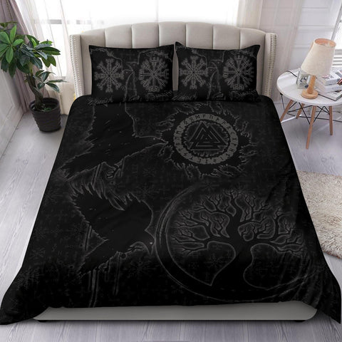 1stIceland Viking Valknut Huginn and Muninn Bedding Set Yggdrasil, Vegvisir Helm of Awe - Black K8 - 1st Iceland
