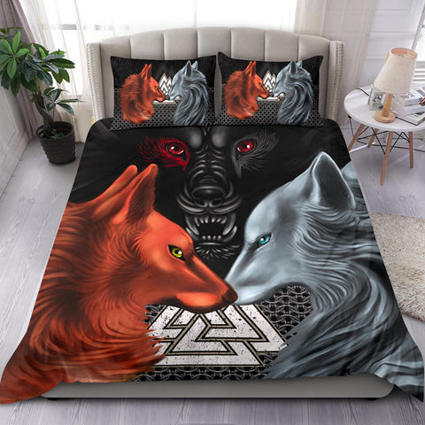 Image of 1stIceland Viking Bedding Set, Hati and Skoll Valknut ChainMail K13 - 1st Iceland
