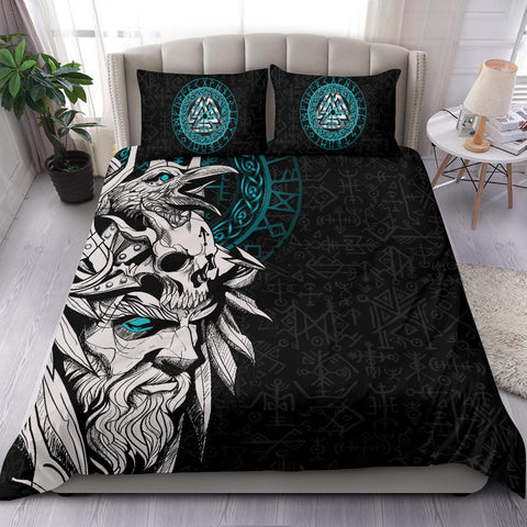 1stIceland Viking Odin And Raven Turquoise Bedding Set