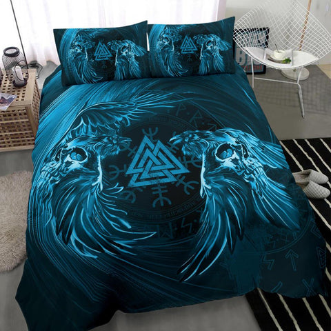 1stIceland Viking Bedding Set, Odin's Raven Skull Valknut Helm Of Awe A79 - 1st Iceland
