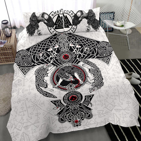 1stIceland Viking Bedding Set, Fenrir Skoll And Hati Valknut Raven K5 - 1st Iceland