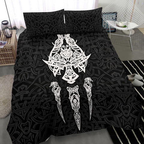 1stIceland Viking Bedding Set, Fenrir The Vikings Wolves Th00 Black - 1st Iceland