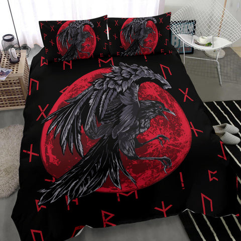 Image of 1stIceland Viking Bedding Set , Odin Raven with Blood Moon Th5 - 1st Iceland