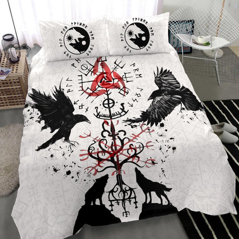 1stIceland Viking Bedding Set, Vegvisir Hugin and Munin with Fenrir Yggdrasil K4 - 1st Iceland