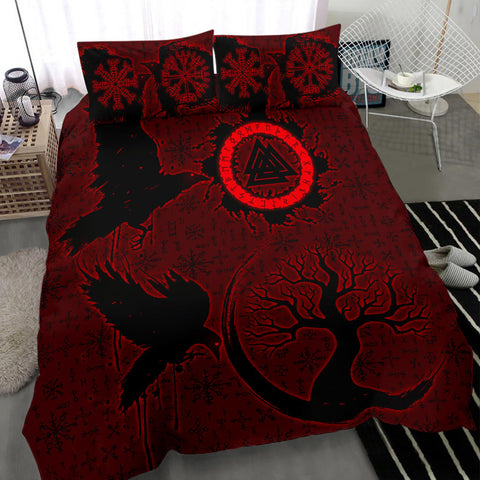 1stIceland Viking Valknut Huginn and Muninn Bedding Set Yggdrasil, Vegvisir Helm of Awe - Red K8 - 1st Iceland