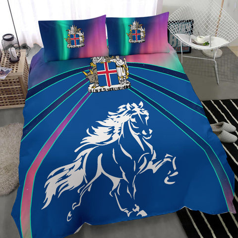 1stIceland Pullover Bedding Set, Icelandic Horse Coat Of Arms Northern Lights K4 - 1st Iceland
