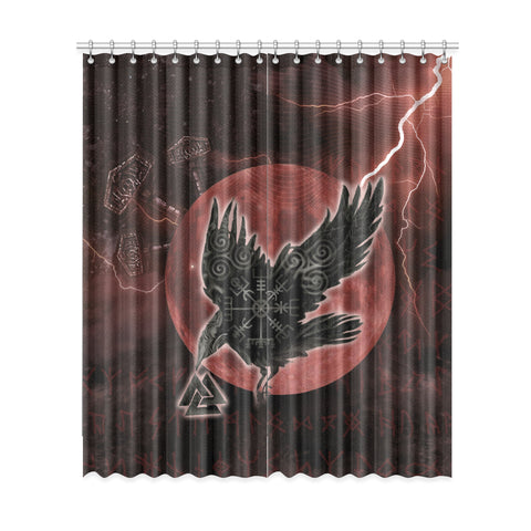 Image of 1stIceland Viking Window Curtain - Raven Mjolnir Red Thunder TH00 - 1st Iceland