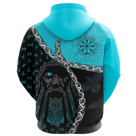 1stIceland Viking Zip Hoodie, Odin Norse Helm of Awe, Blue K5 - 1st Iceland