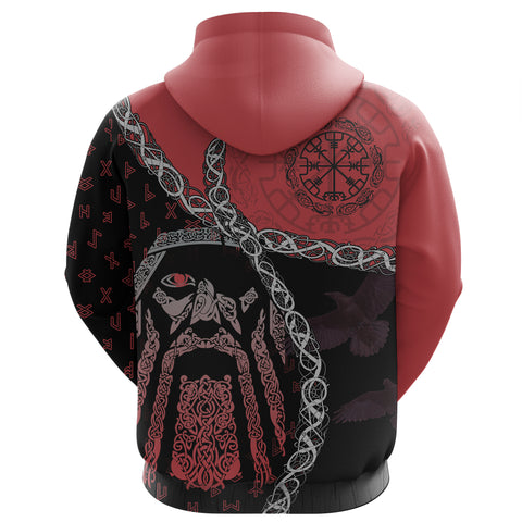 1stIceland Viking Zip Hoodie, Odin Norse Helm of Awe, Red K5 - 1st Iceland