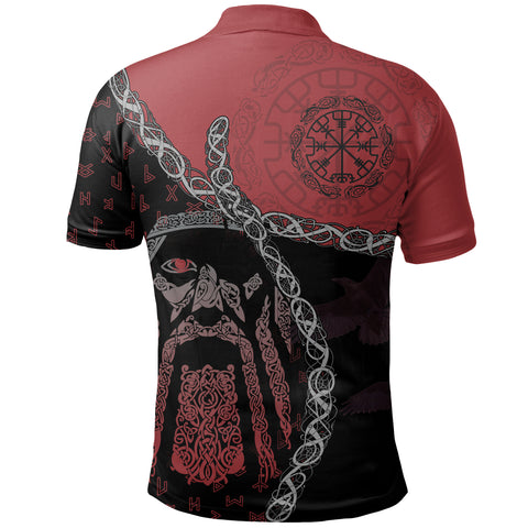 1stIceland Vikings Polo Shirt, Odin Norse Helm of Awe, Red K5 - 1st Iceland