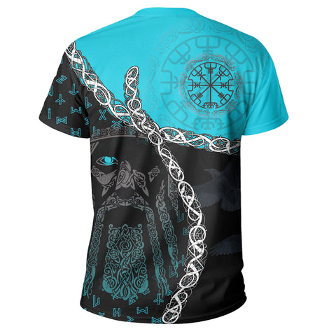 1stIceland Vikings T Shirt, Odin Norse Helm of Awe, Blue K8 - 1st Iceland