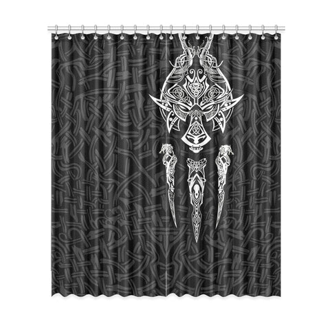 1stIceland Viking Window Curtain, Fenrir The Vikings Wolves Th00 Black - 1st Iceland