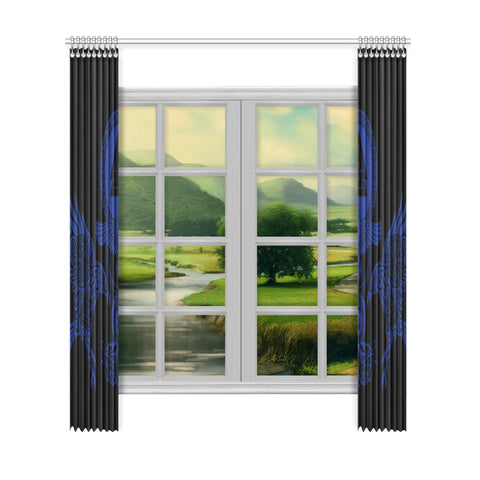 Image of 1stIceland Viking Window Curtain, Raven Vegvisir Fenrir Valknut J1 - 1st Iceland