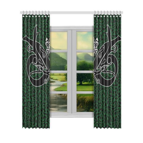 Image of 1stIceland Celtic Window Curtain, Celtics Dragon Tattoo Th00 - Green - 1st Iceland
