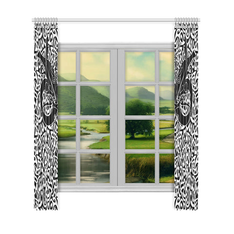 1stIceland Celtic Window Curtain, Celtics Dragon Tattoo Th00 - White - 1st Iceland