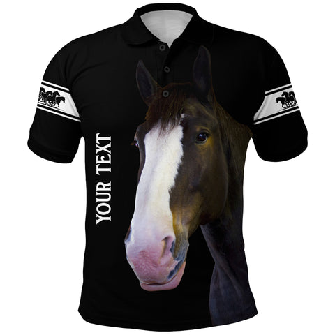 (Custom Personalised) 1stIceland Clydesdale Horse Polo Shirt Simple Style - Black K8 - 1st Iceland