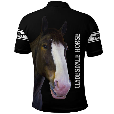 Image of (Custom Personalised) 1stIceland Clydesdale Horse Polo Shirt Simple Style - Black K8 - 1st Iceland
