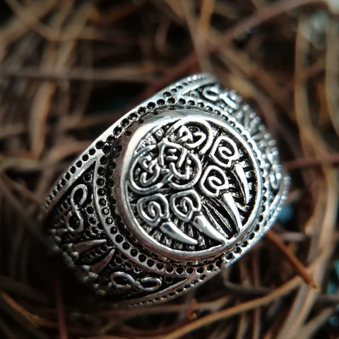 1stIceland Vikings Ring, Nordic Myth Bear Claw Silver Th00 - 1st Iceland