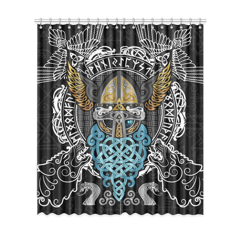 1stIceland Viking Window Curtain , Odin Helmet Valnut Helm Of Awe Odin A7 - 1st Iceland