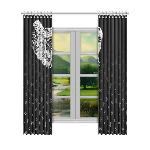 1sticeland Viking Window Curtain, Norse Jormungandr the Midgard Serpent Th00 - 1st Iceland