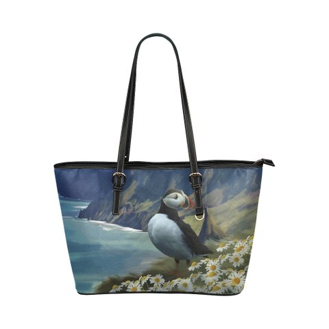 Image of 1stIceland Leather Tote Bags, Icelandic Puffins K4 - 1st Iceland