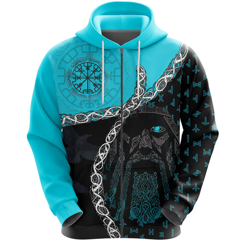 Image of 1stIceland Viking Zip Hoodie, Odin Norse Helm of Awe, Blue K5 - 1st Iceland
